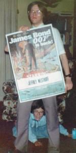 Teenaged Jeffrey Westhoff proudly holding a Bond poster