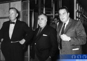 Ian Fleming with producers Harry Saltzman and Cubby Broccoli