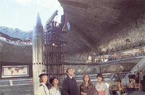 Behind the scene set photo of the hollowed out volcano from You Onlu Live Twice, 1967