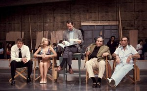 Hamilton with Cubby Broccoli, Roger Moore, Christopher Lee, and Britt Ekland on the set of The Man with the Golden Gun