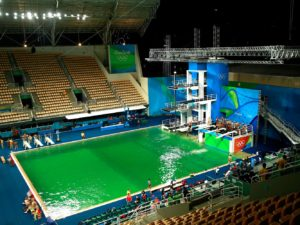 """Athletes are now reporting that the diving pool in this arena smells like """"a giant fart."""""""