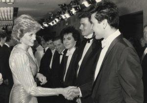 Princess Diana (1961-1997) greets Duran Duran