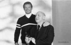 Roger Moore and Maurice Binder while filming For Your Eyes Only